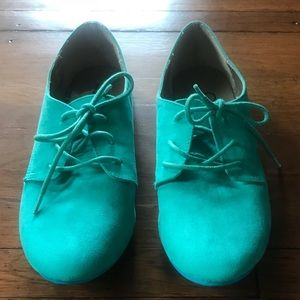 Bakers suede oxford shoe lace up green teal 6 1/2
